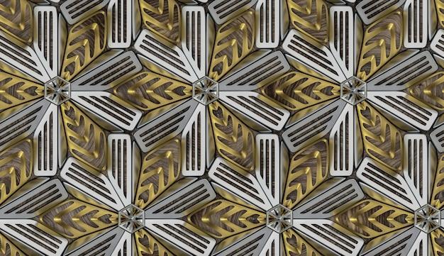 Jednolity wzór 3d metalowych matowych płytek ze srebrnym i złotym matowym materiałem.