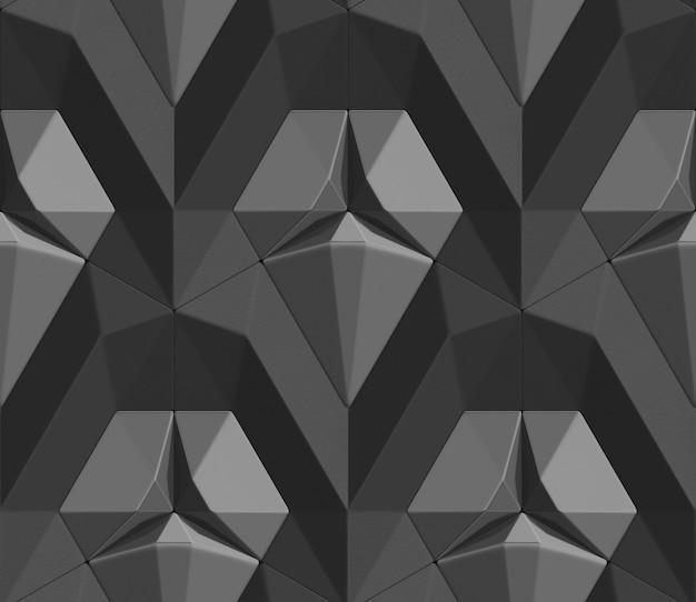 Jednolity wzór czarnych płytek 3d w postaci sześciokątnych płytek wolumetryczny kształt skóry.