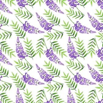 Jednolity wzór fioletowych dzikich kwiatów na białym tle