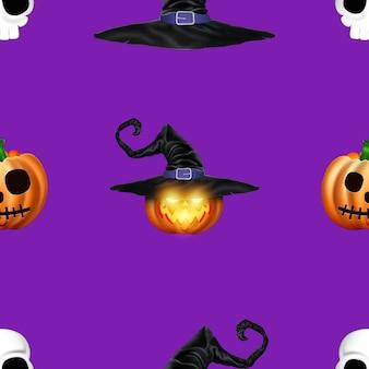 Jednolity wzór halloween. obraz pomarańczowych dyni.
