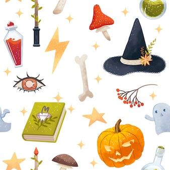 Jednolity wzór halloween z atrybutami czarownicy, dynia, kapelusz, trucizna, grzyby, magiczna książka, gwiazdy, duchy, kości, oko, magiczna różdżka