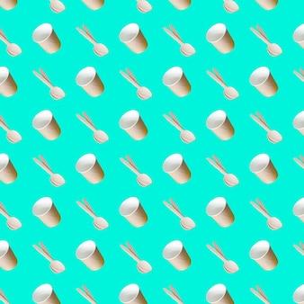Jednolity wzór papierowych kubków do zupy z bambusowymi łyżkami na niebieskim tle papieru