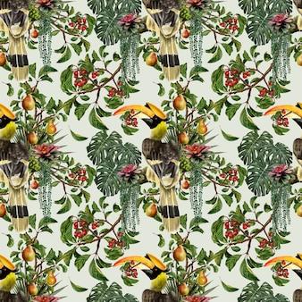 Jednolity wzór ręcznie rysowane kolor wody malarstwo flory liści roślin i owoców z tropikalnych ptaków.