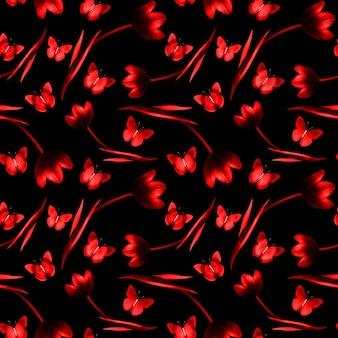 Jednolity wzór tulipanów z motylami na czarnym tle