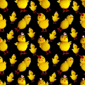 Jednolity wzór zabawek kurcząt na białym na czarnym tle. zdjęcie wysokiej jakości