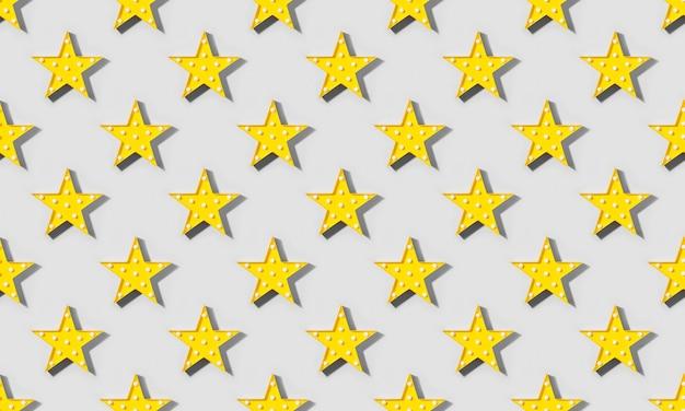 Jednolity wzór żółtej lampy jako gwiazdy z diodami led z cieniem na szarym tle