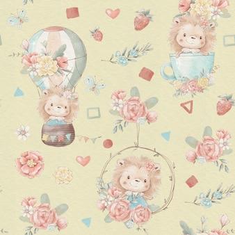 Jednolity wzór zwierzęta z kreskówek latają balonem