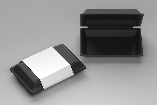 Jednorazowy pojemnik na żywność z czarnym pudełkiem na żywność z opakowaniem etykiet eko karton na białym tle - pusty szablon pojemnik na żywność - renderowanie 3d