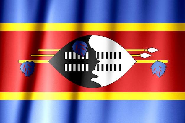 Jedwabna flaga eswatini. flaga jedwabnej tkaniny eswatini.