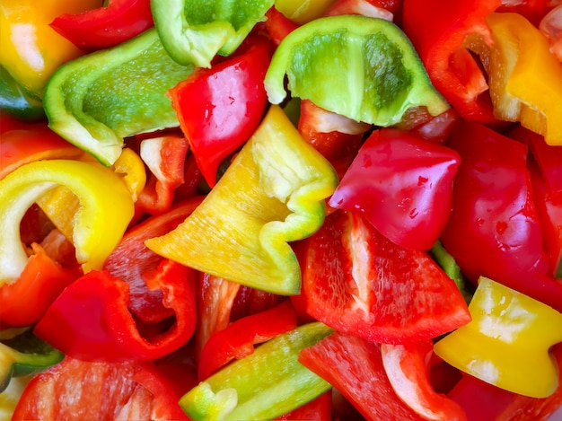 Jedzenie dla projektu wielobarwna posiekana papryka