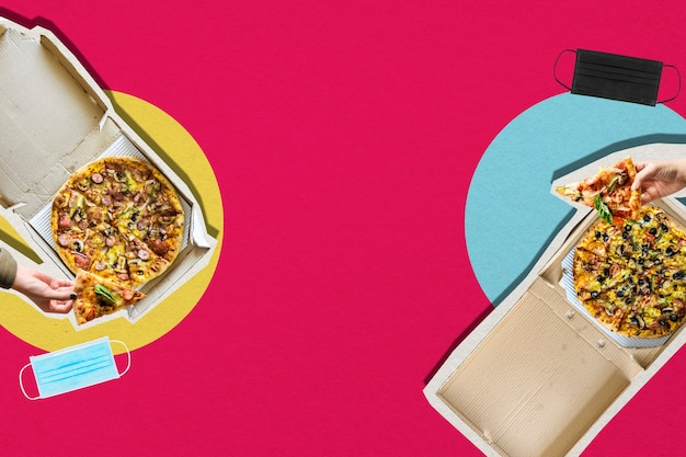 Jedzenie pizzy z dystansem społecznym w nowy, normalny sposób