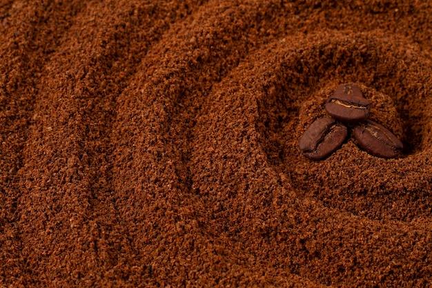 Jedzenie tło, koła na kawę, z ziaren kawy, widok z góry