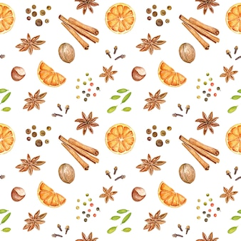 Jesień i zima wzór z ręcznie rysowane akwarela grzane wino składników.
