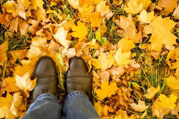 Jesień, jesień, liście, nogi i buty. koncepcyjne obraz nóg w butach na liści jesienią. stopy buty chodzenia w przyrodzie