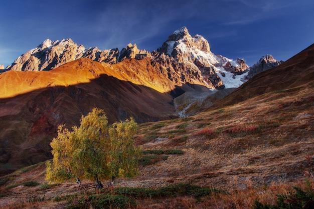 Jesień krajobraz i ośnieżone górskie szczyty.