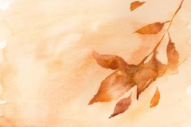 Jesień kwiatowy akwarela tło w pastelowej pomarańczy z ilustracją liści