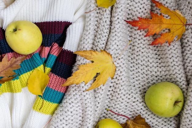 Jesień leżała płasko. jabłka i jesienne liście leżą na wełnianym swetrze.