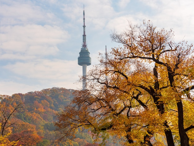Jesień namsan tower w seulu, korea południowa