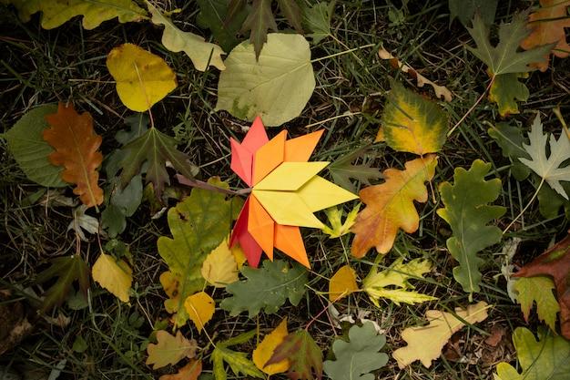 Jesień natura koncepcja tło tradycyjne rzemiosło papierowe ręcznie origami opadłych liści klonu natura kolorowy obraz backround idealny do użytku sezonowego