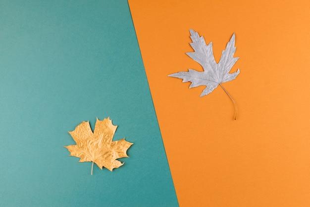 Jesień tło. nadchodzi jesień. minimalne kreatywne mieszkanie