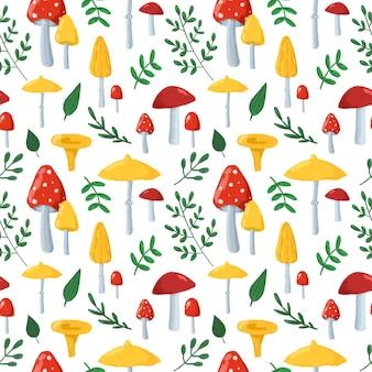 Jesień wzór z uroczymi grzybami i liśćmi. ręcznie rysowane w stylu cartoon grzyby na białym tle powtórzyć drukowanie. jesienne tło dla tekstyliów, tkanin, tapet, papieru do pakowania, projektowania