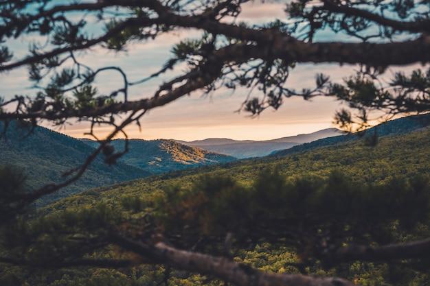 Jesień zimny poranek świt w górach nad doliną pływające chmury
