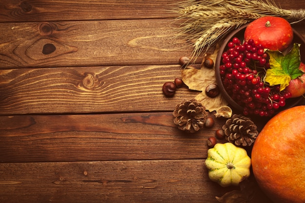Jesieni owoc na drewnianym stole