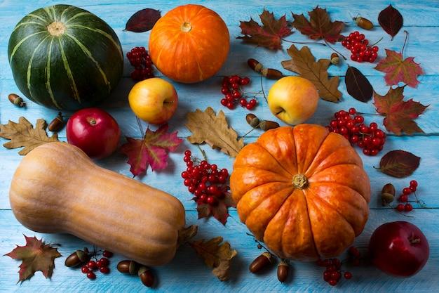 Jesieni sezonowi warzywa i owoc na błękitny drewnianym.