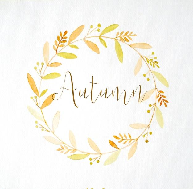 Jesieni słowa i rysunku jesieni kwiatów wianek w akwarela stylu na białego papieru tle, kartka z pozdrowieniami, sztandar