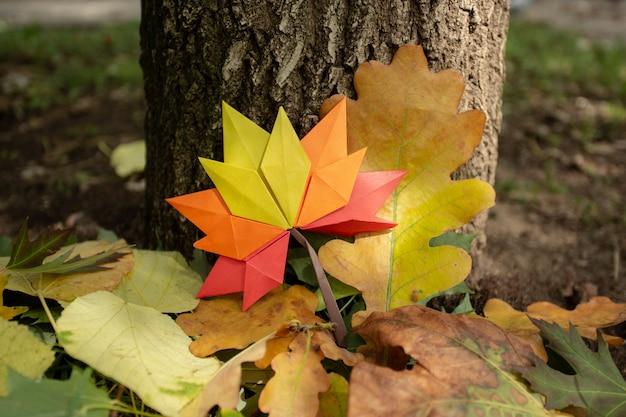 Jesieni tła pojęcie na drzewnym tradycyjnym papierowym rzemiośle ręcznie czerpanym origami spadać liściach klonowych natury kolorowy backround wizerunek idealny do użytku sezonowego