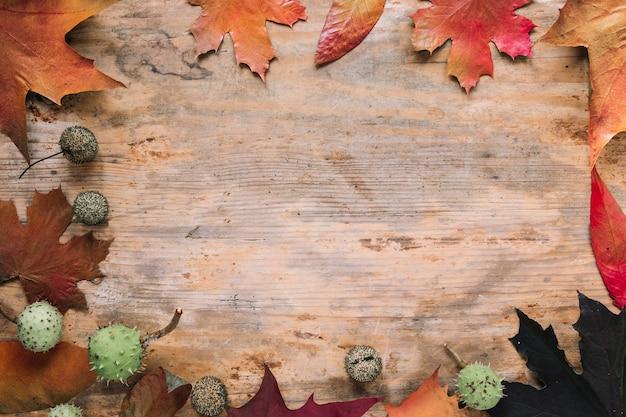 Jesieni tło z liśćmi na drewnie