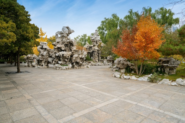 Jesienią piękny park yingze znajduje się w taiyuan w prowincji shanxi