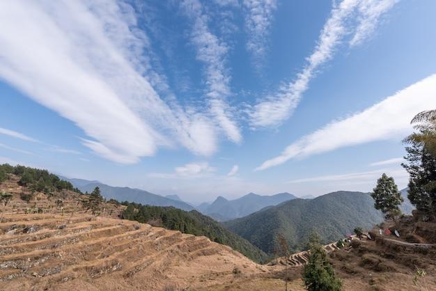 Jesienią uprawy i chwasty na wiejskich polach usychają i żółkną, a niebo jest bardzo błękitne