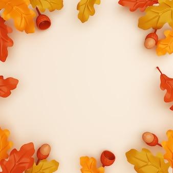 Jesienna dekoracja tła z liści dębu kopia przestrzeń
