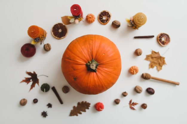 Jesienna flatlay i przytulna kompozycja ze świecami dyniowymi pozostawia na białym tle widok z góry