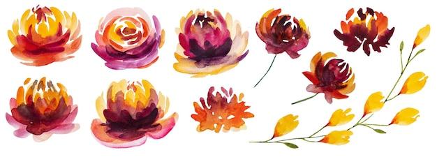 Jesienna kolekcja akwareli z żółtymi, pomarańczowymi i czerwonymi kwiatami na białym tle