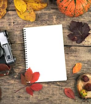 Jesienna kompozycja notatnika, aparatu fotograficznego, dyni, jagód i liści na naturalnym drewnianym stole.