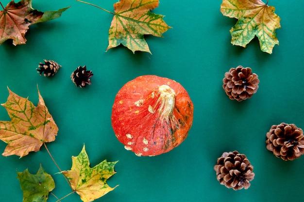 Jesienna kompozycja. rama wykonana z dyni, suszonych liści i tła szyszek sosny. szablon jesień, jesień, halloween, koncepcja święto dziękczynienia zbiorów. płaski układ, widok z góry, kopia tła miejsca