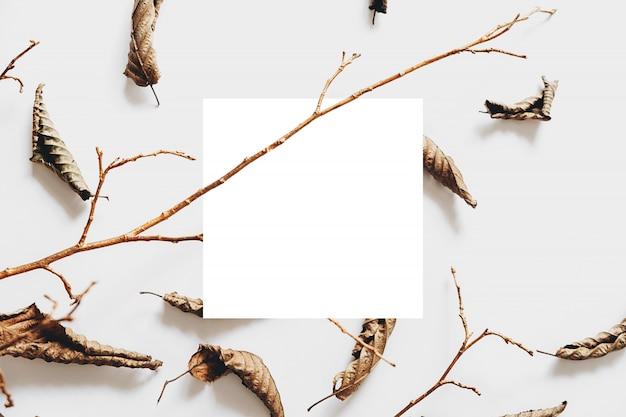 Jesienna kompozycja. suszone liście, drewniana gałąź i biała ramka na pastelowym szarym tle. koncepcja jesień i święto dziękczynienia. leżał płasko, widok z góry