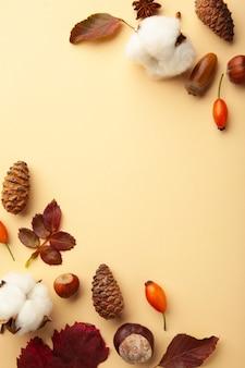 Jesienna kompozycja. suszone liście, kwiaty, jagody na beżowym tle. koncepcja święto dziękczynienia. płaski układanie, widok z góry, kopia przestrzeń