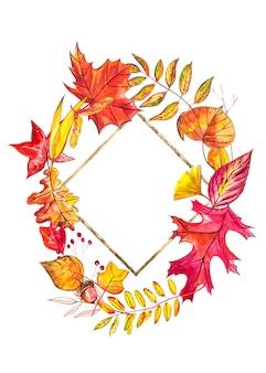 Jesienna kompozycja. wieniec wykonany z jesiennych jagód i liści. akwarele