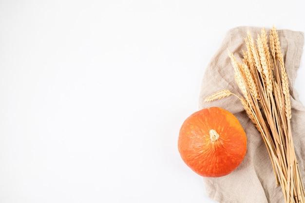 Jesienna płaska kompozycja z pszenicy i dyni