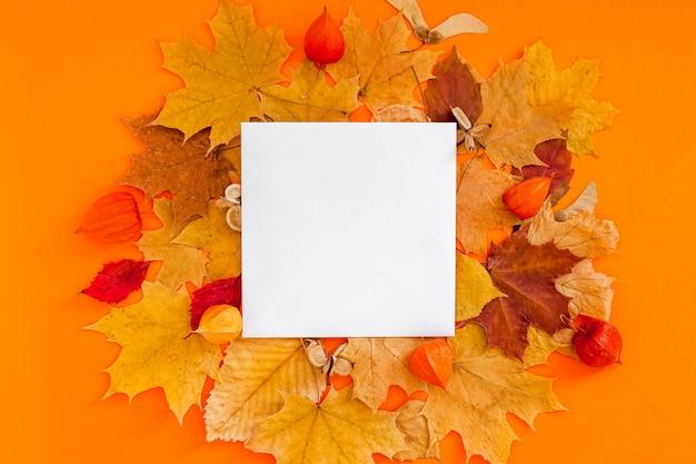 Jesienna płaska kompozycja z pustą nutą i suchymi liśćmi na odważnej pomarańczy