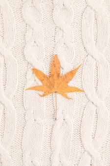 Jesienna płaska kompozycja z suszonymi liśćmi na jasnym tle z dzianiny