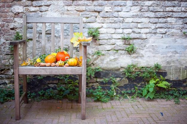 Jesienna przyroda. spadają owoce na drewno. święto dziękczynienia. jesienne warzywa na starym krześle w ogrodzie, wolne miejsce na tekst
