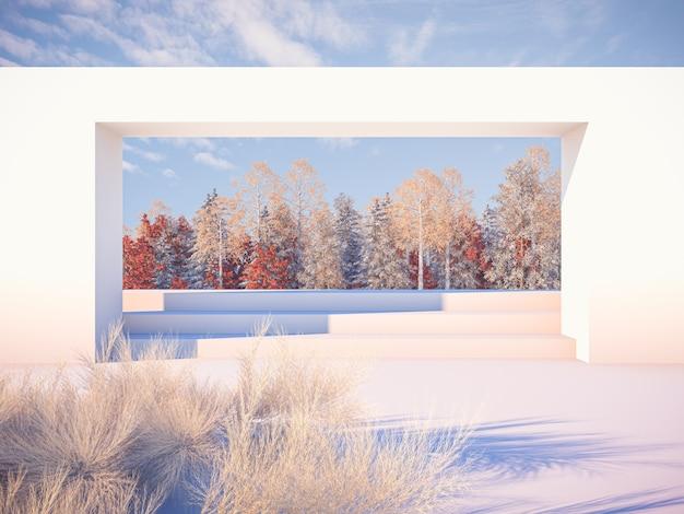 Jesienna scena krajobrazowa z formami geometrycznymi