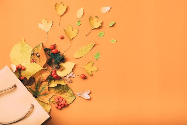 Jesienna wyprzedaż. wakacyjne zakupy. papierowa torba.