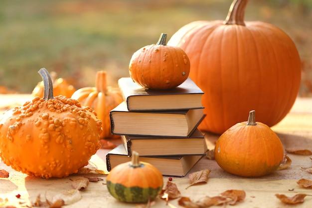 Jesienne książki. książki na halloween. sterta książki i banie na rozmytym tle w świetle słonecznym.