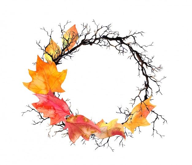 Jesienne liście, gałęzie. wieniec akwarela jesień granicy