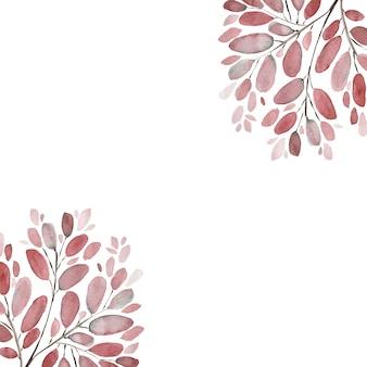 Jesienne liście i gałęzie akwarela ilustracja tło. zestaw ręcznie malowanych elementów kwiatowych. akwarela ilustracja botaniczna.